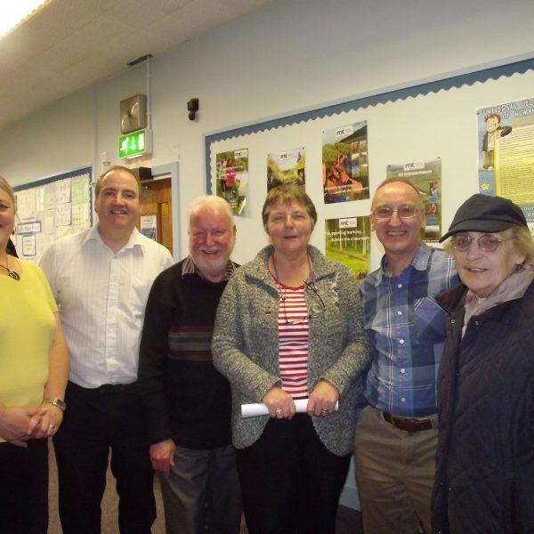 Visit of Barbara Wimble, President Botany Bay FHS to Fermanagh - (LtoR -Karen Ireson, Frank McHugh, Warren Wimble, Barbara Wimble, Mervyn Hall and Viola Wiggins